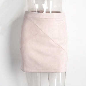 White Faux Suede Leather Mini Pencil Skirt High Waist
