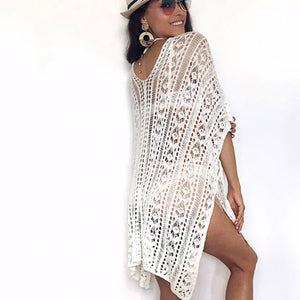 White Beach Cardigan Crochet Swimsuit Cover Up