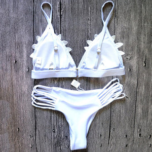 White Thong Triangle Bikini Set with Slit Bottoms and Mesh Flower Top