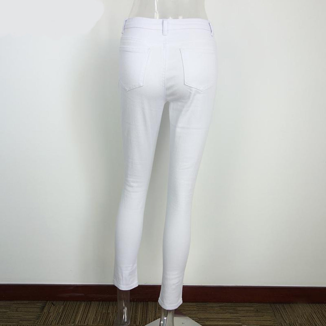 White Women's Pants High Waisted Jeans With Torn Knees