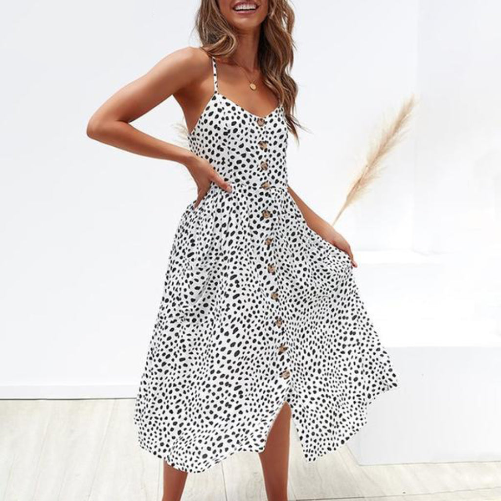 Black and White Pocket Midi Dress Summer Button Dress Casual