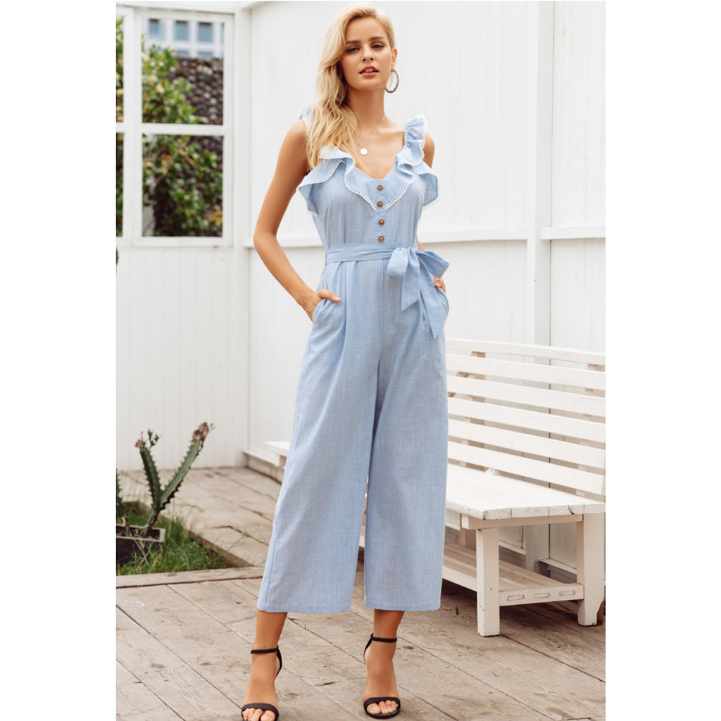 Sleeveless Blue Jumpsuit with Wide Leg and Sash