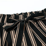 Black Wide Leg Split Pants With Sash Striped Street Style Women
