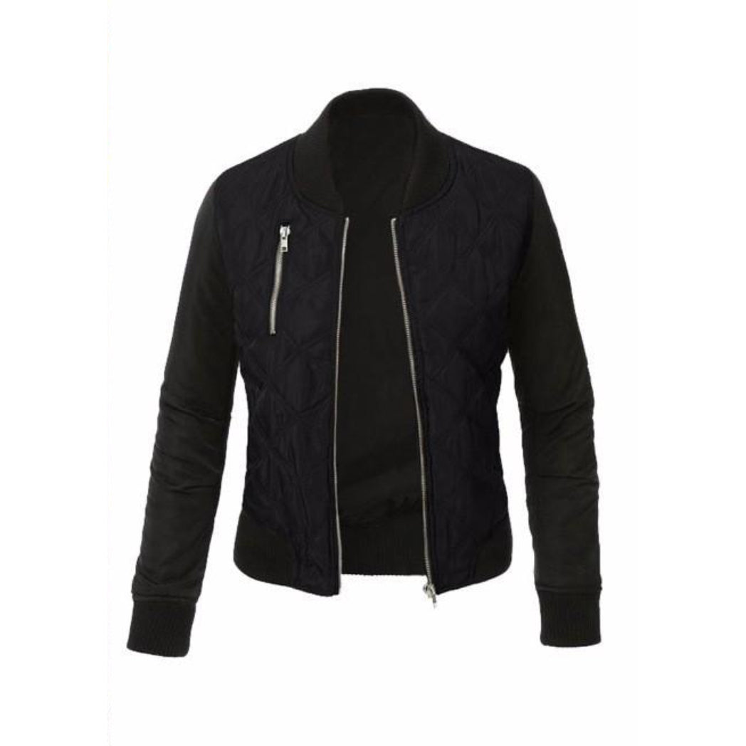 Women's Black Bomber Jacket stylish fall outfit inspiration