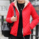 Women's Bomber Jacket Red with Soft Lining and Hood Women's Bomber Coat