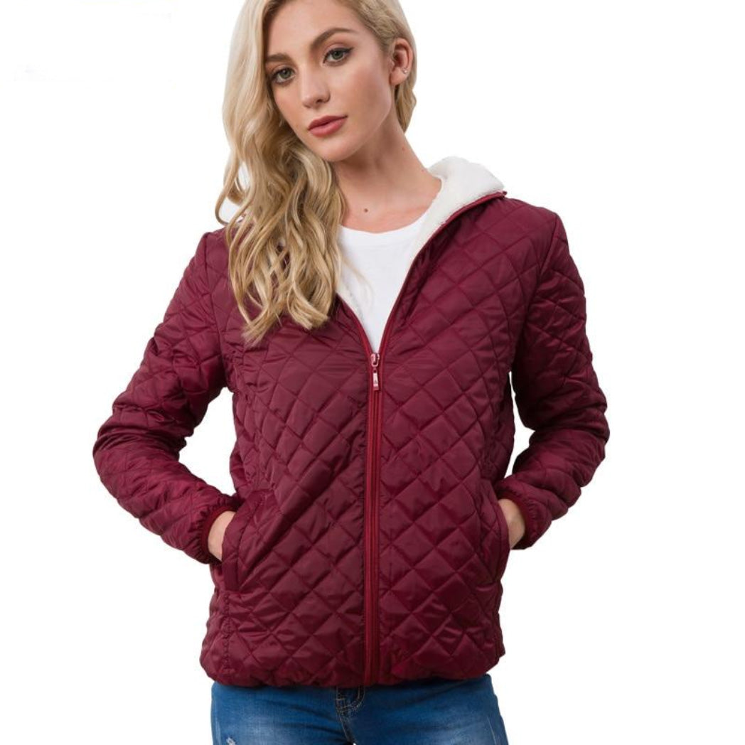 Women's Bomber Jacket Burgundy with Soft Lining and Hood