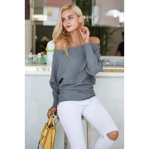 Women's Gray Off the Shoulder Sweater also Batwing Sleeve Sweater
