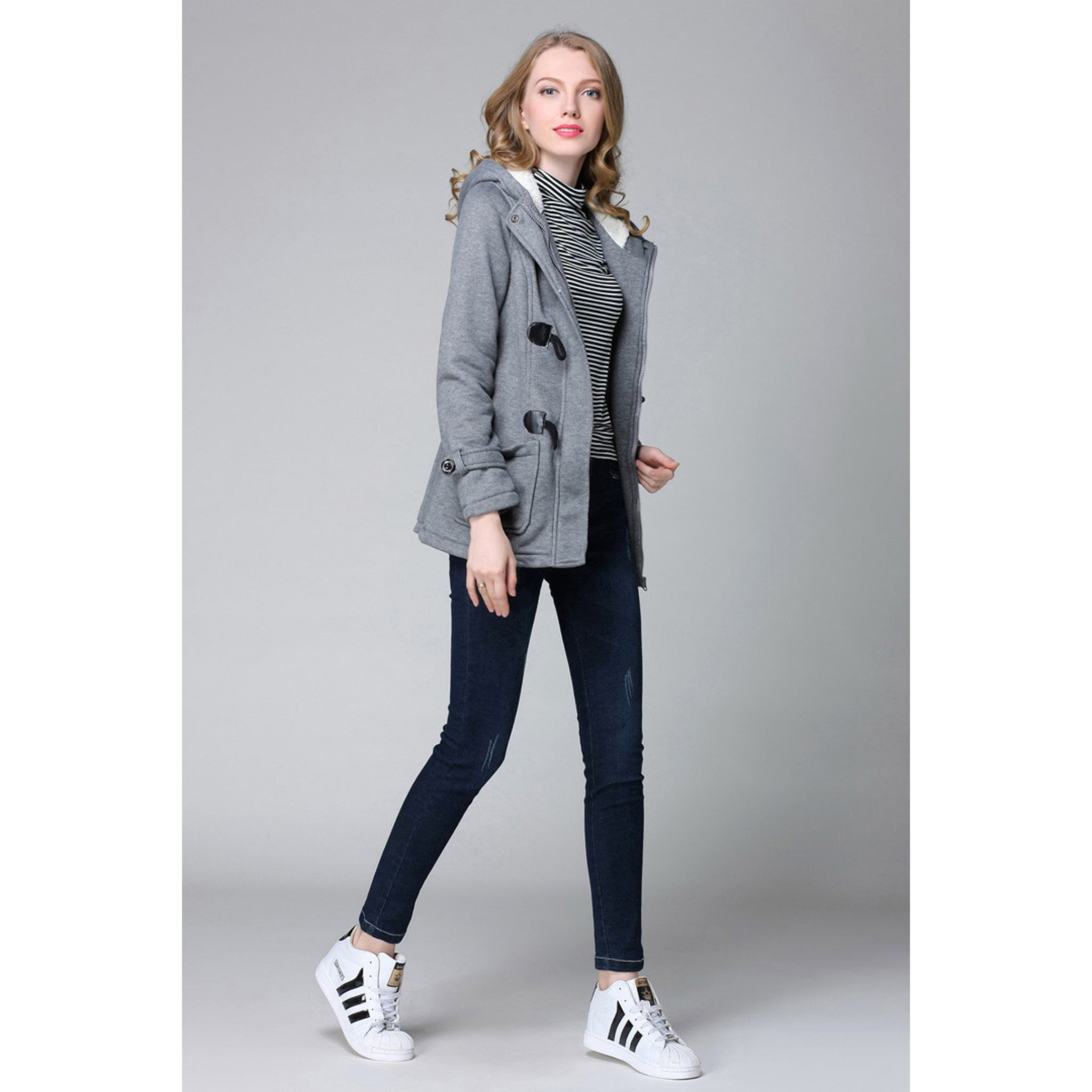 Women's Gray Trench Coat with Soft hood and cute claspes