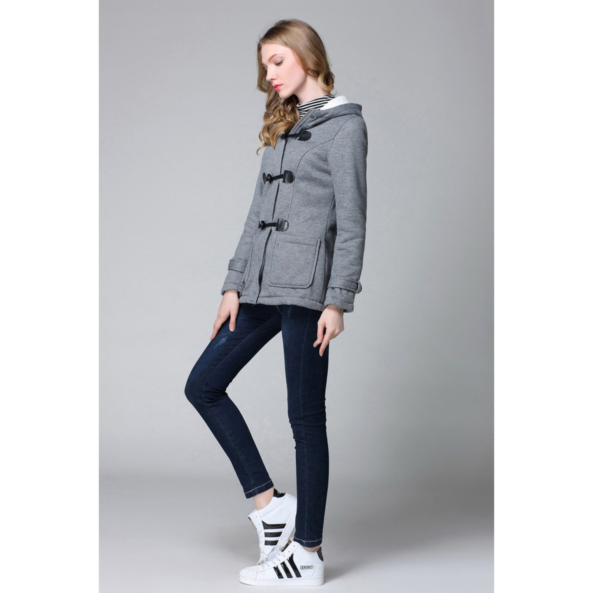 Women's Hooded Gray Coat with Clasps and Soft Lining