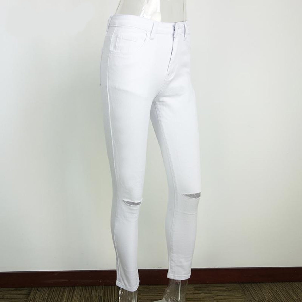 Women's Jeans White High Waisted Pants Ripped Knee Detailing