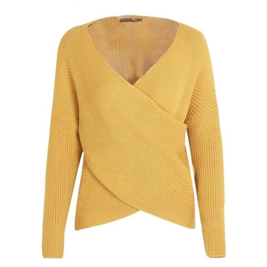 Women's Knitted Sweater Yellow with Cross V-neck and Long Sleeves