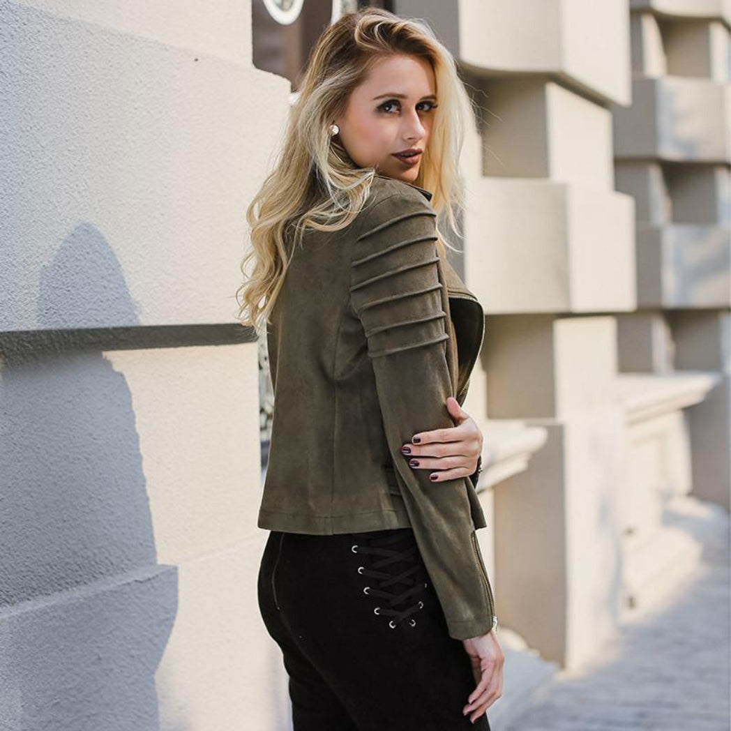 Women's Suede Short Coat with Ribbed shoulder. Turn down Collar Jacket