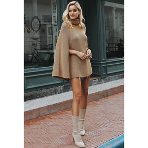 Women's camel turtleneck sweater Batwing sleeve poncho