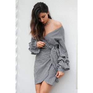 Wrap Dress Mini Lantern Sleeve Dress Bohemian Dress Sash Plaid Dress