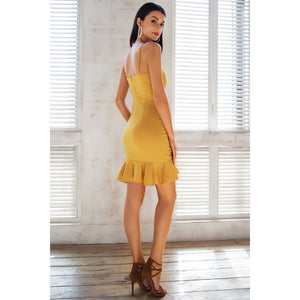 Yellow Bodycon Dress with ruffles Mini Length and Open Shoulders