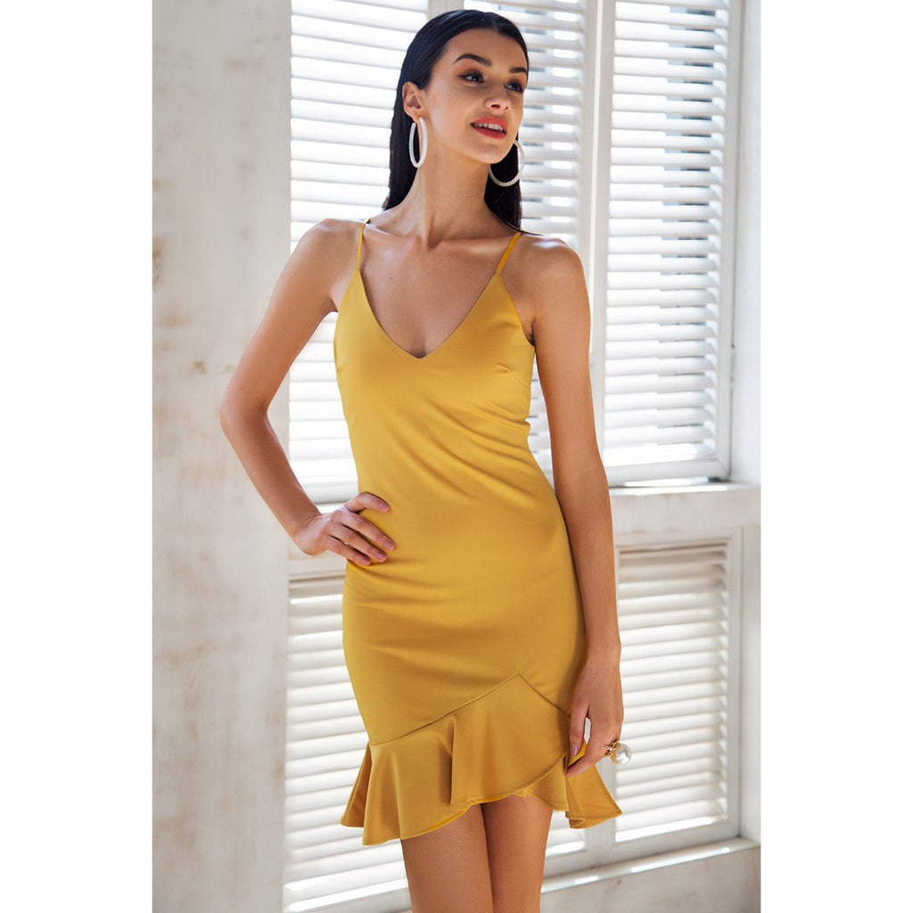 Yellow Bodycon Party Dress Ruffle Bottom Open shoulder and V-neck