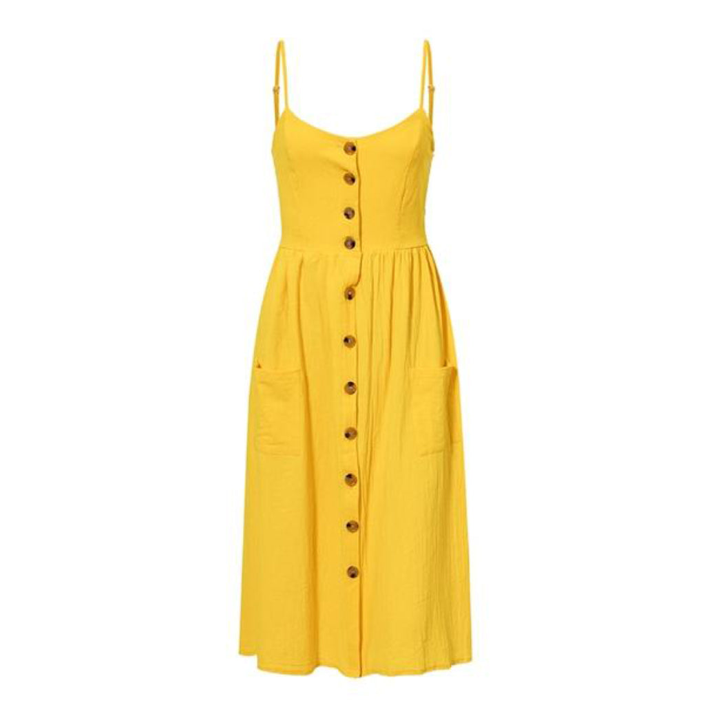 Yellow Midi Dress Buttons and Pockets Casual Cute Summer Dress