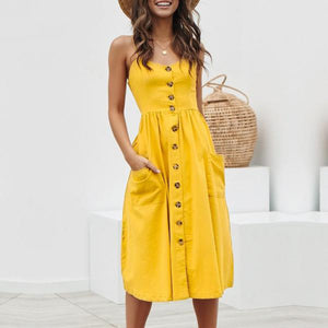 Yellow Pocket Midi Dress Summer Button Dress