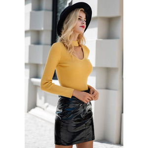Yellow Choker Pullover Sweater With Long Sleeves and Neck Piece V-neck