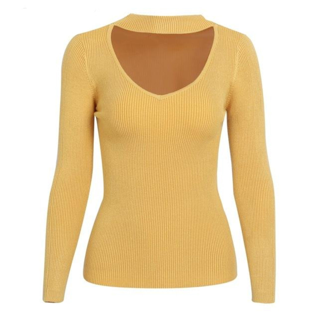 Yellow Choker Sweater for Women Knit Pullover Sweatshirt