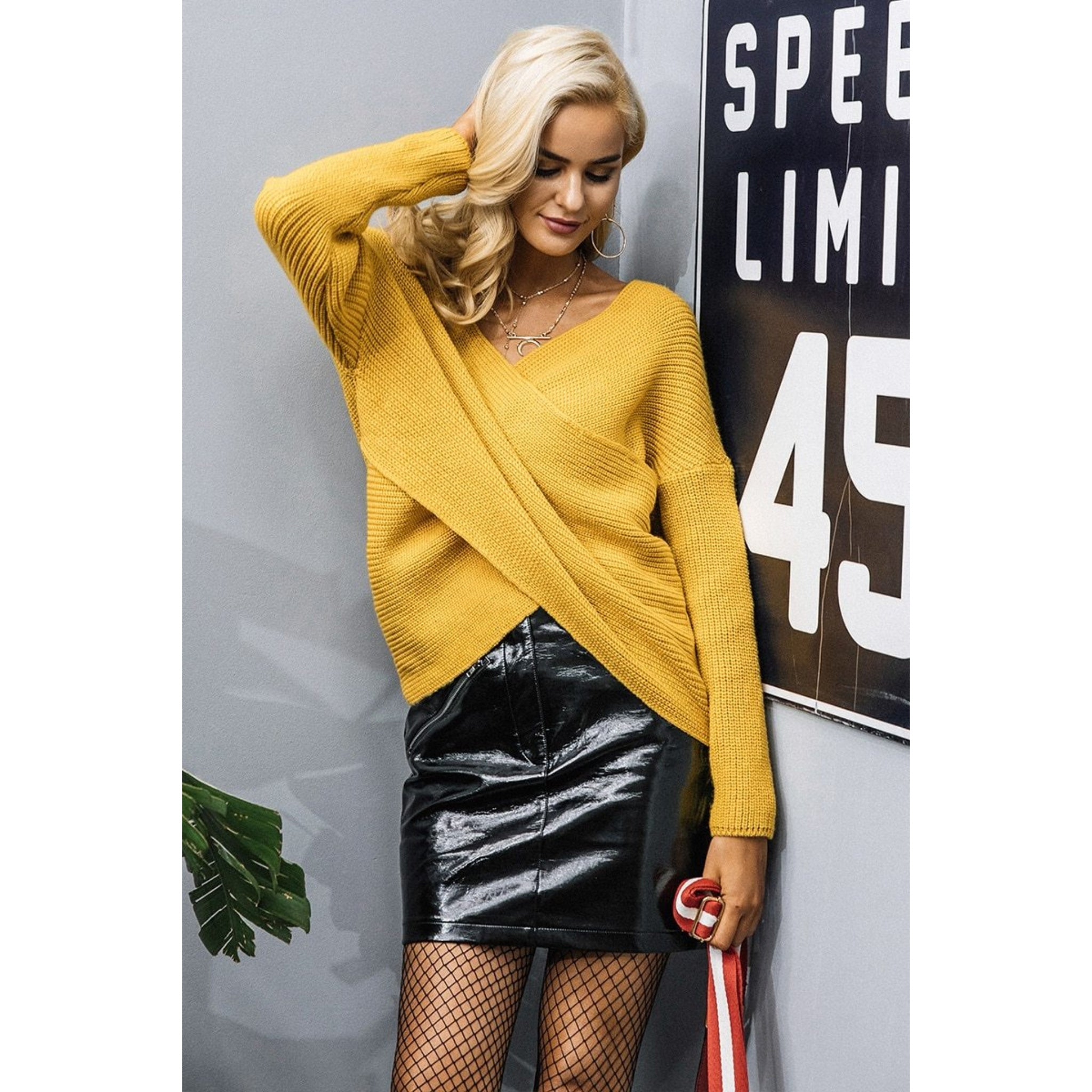 Yellow Knitted Pullover Cross Neck Sweater With Long Sleeves