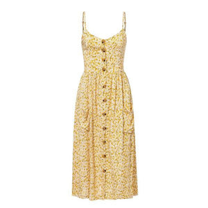 Yellow Floral Summer Dress Midi Pocket Dress Buttons