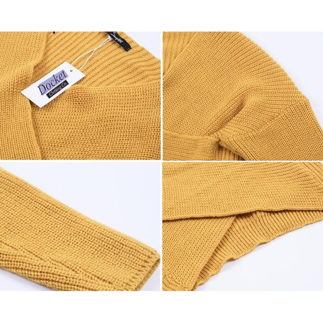 Women's Yellow Knitted Sweater with Long sleeves and cross v-neck