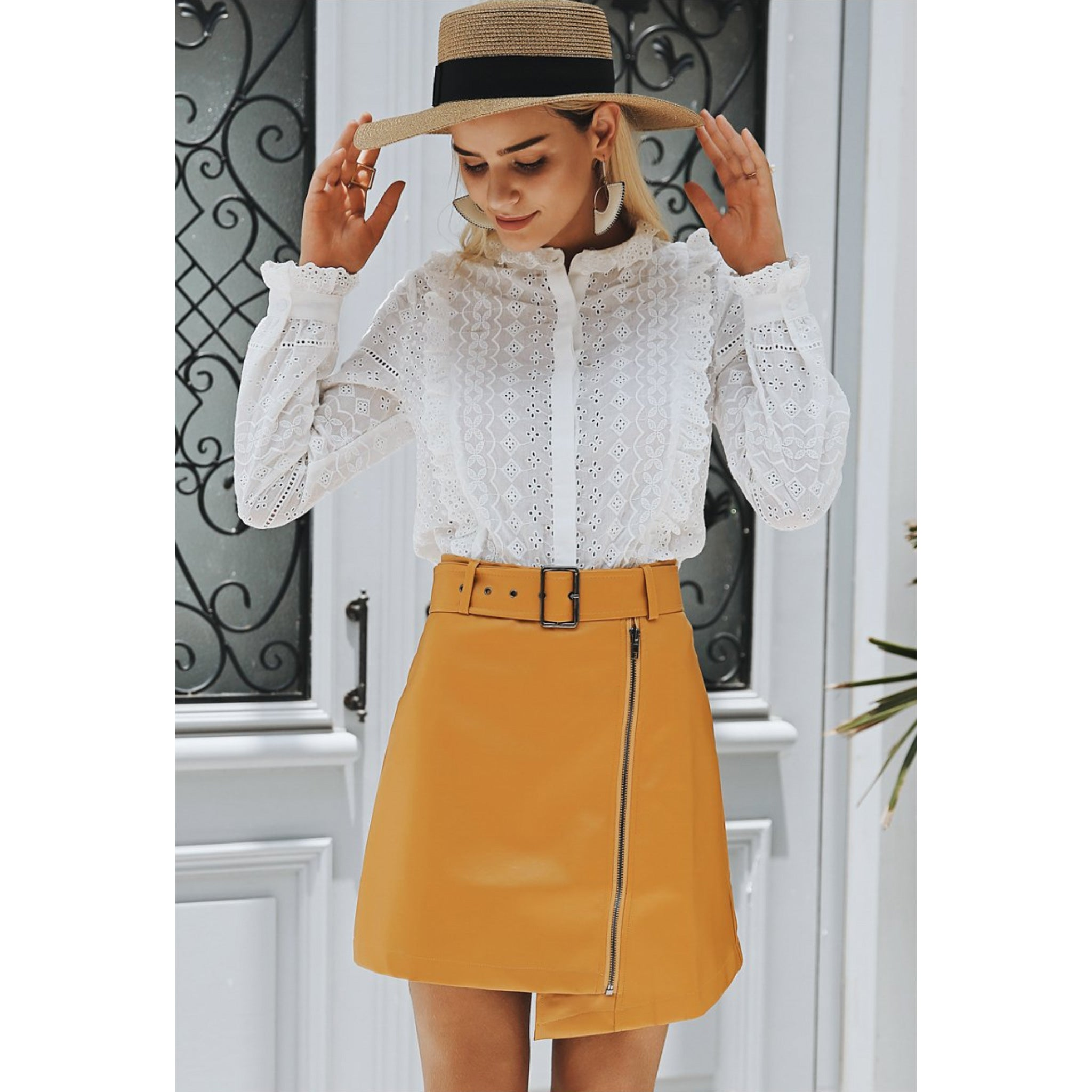 Yellow Mini Skirt Faux Leather with Belt High Waisted
