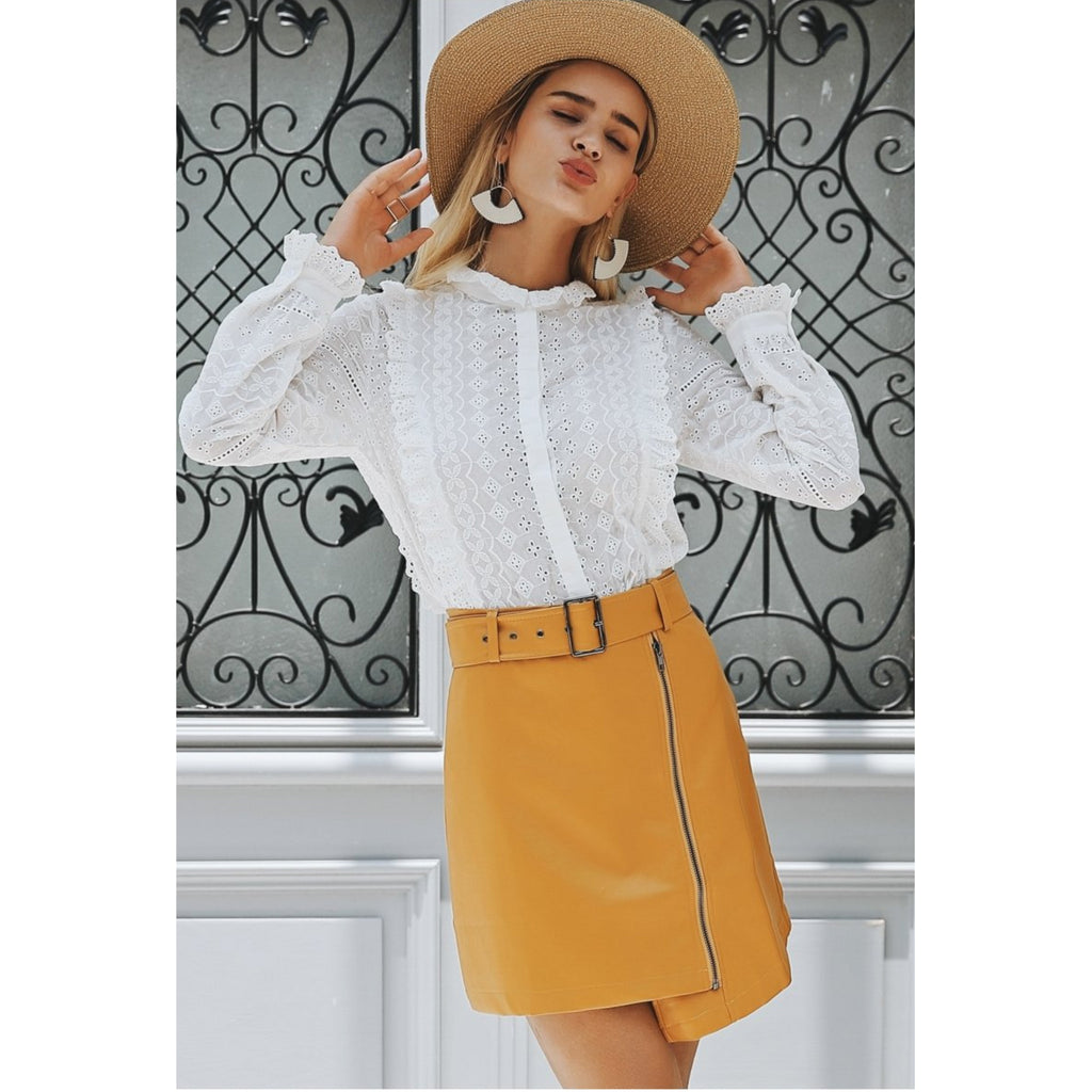 Yellow Faux Leather Mini Skirt WIth Belt Outfit
