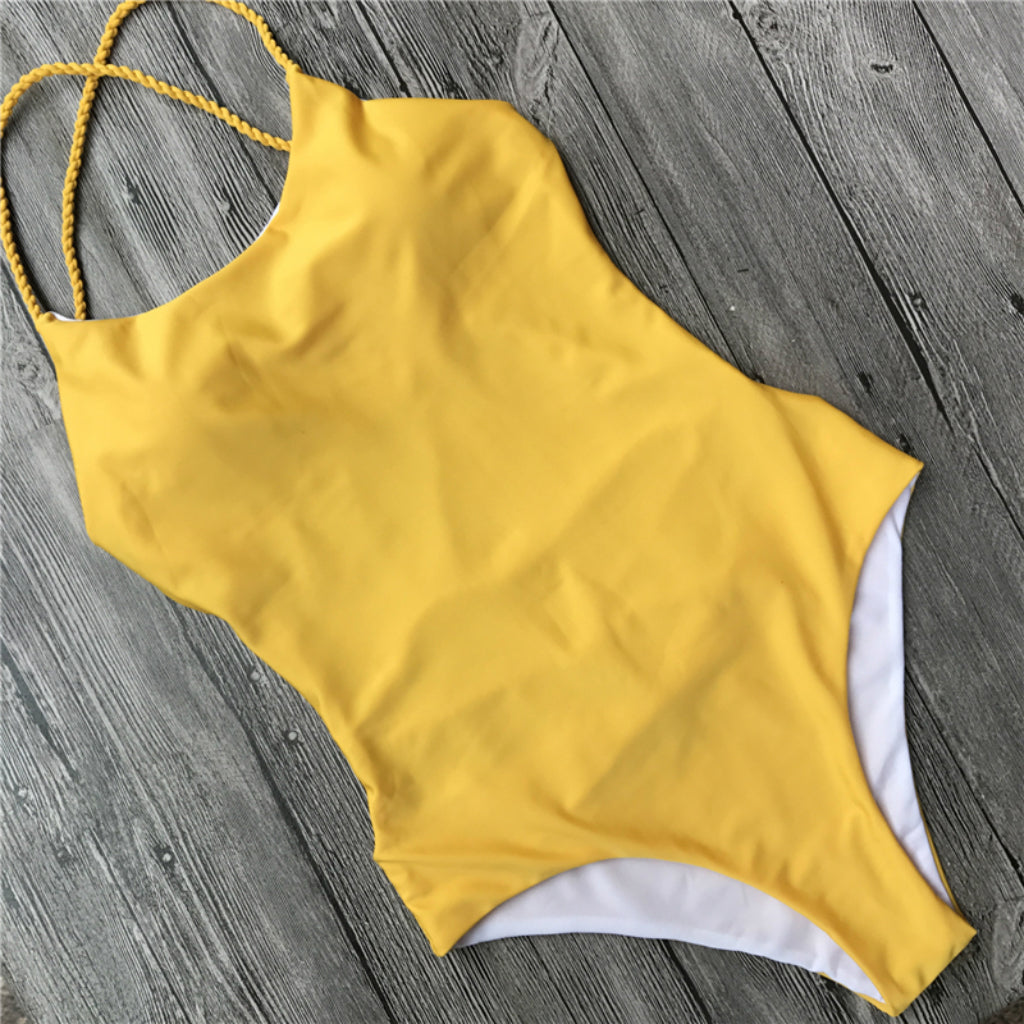 Yellow One-piece Swimsuit Sexy Strappy Back Swimwear