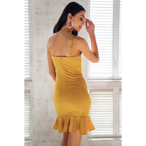 Yellow Party Dress With ruffles v-neck and open shoulders