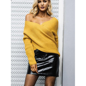 Yellow Pullover Sweater with Cross V-neck and Long Sleeves