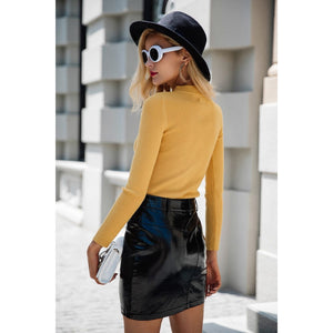 Yellow Pullover Sweater with Choker Neck piece and Long Sleeves