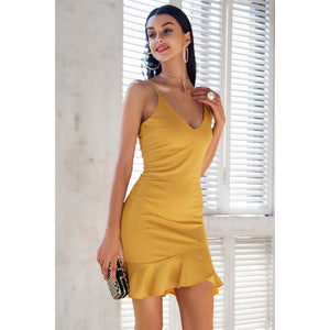 Yellow Sexy Party Dress Open Shoulders with Ruffle Bottom and V-neck