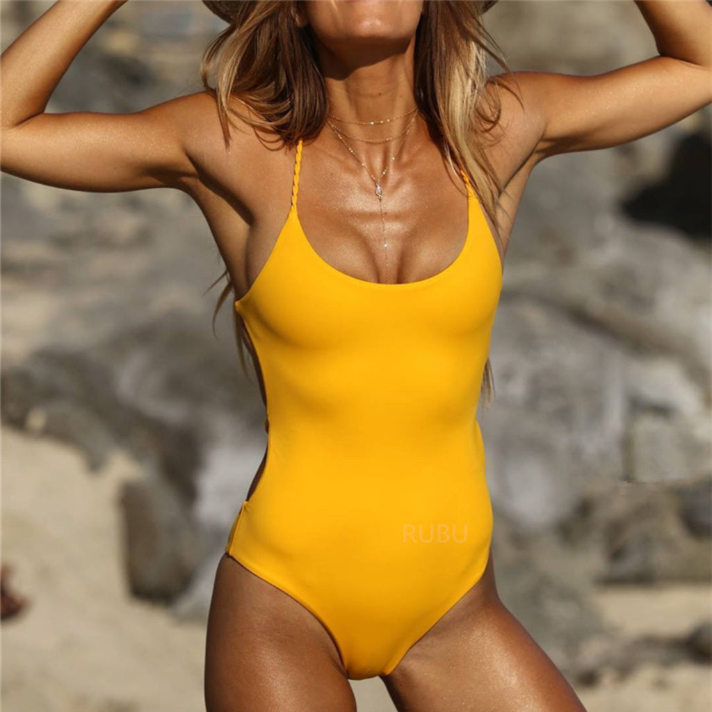 Yellow One-piece Swimsuit Brazilian Bottom Low Cut Front