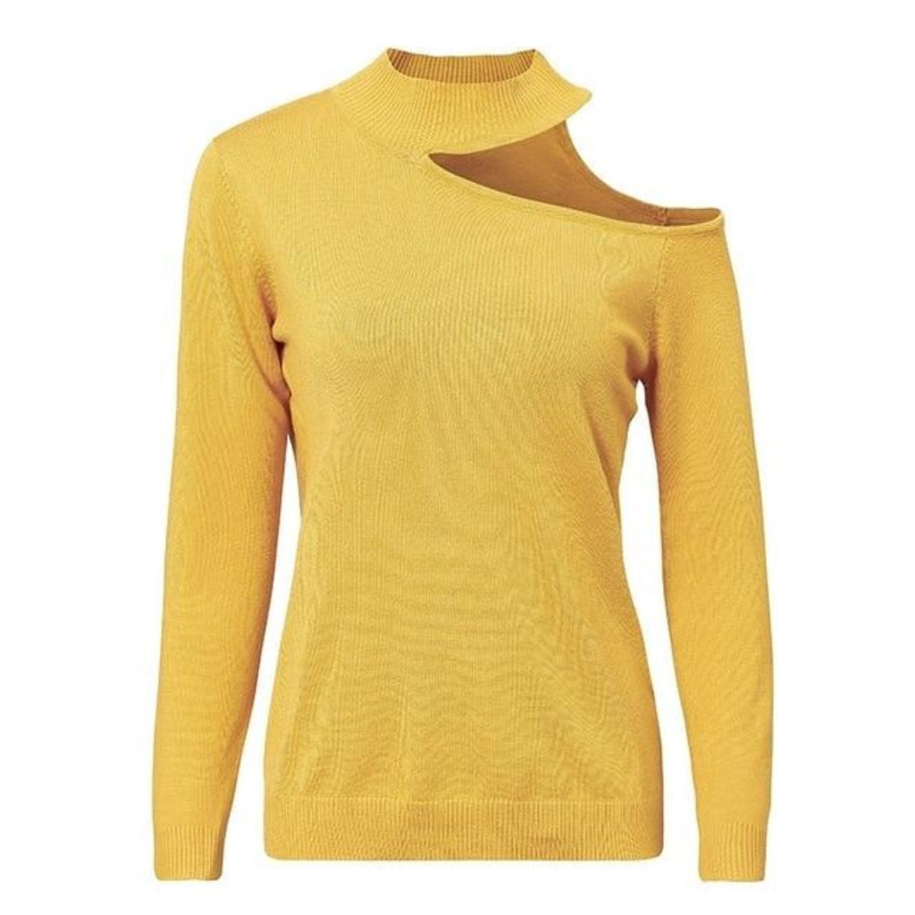 Yellow Choker Sweater With Long Sleeve Pullover Cold Shoulder Sweater Shop