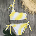 Striped Yellow One Shoulder Bandeau Top Bikini Yellow Swimsuit Bandeau Bikini Top Tie-side Bathing Suit