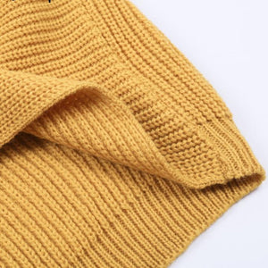 Yellow Women's Sweater Knitted with Cross v-neck and long sleeves