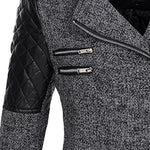 Zipper Detailing Slim Hooded Coat Gray Jacket for Winter Women's Street Style Coat
