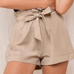 Sash Drawstring | High Waist Paper Bag Shorts