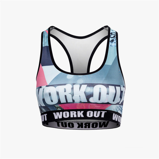 Retro Grapics Work Out | Compression Sports Bra