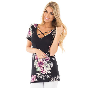Floral Criss-Cross  | V-neck Shirt - DocketTee