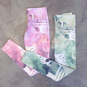 Pink or Green Ink Pattern | High Waist Leggings