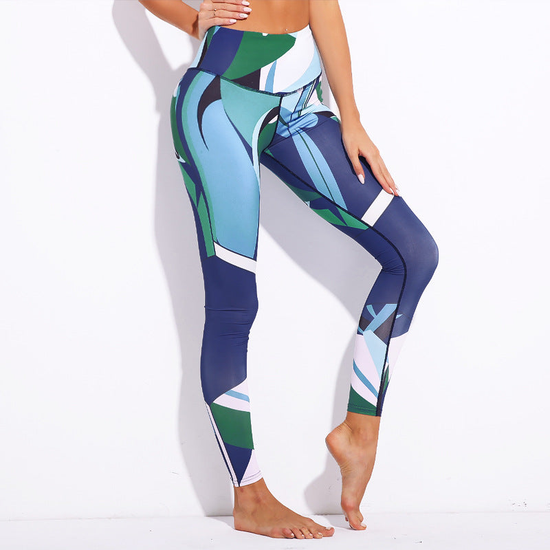 Blue Digital Print | High Waist Leggings