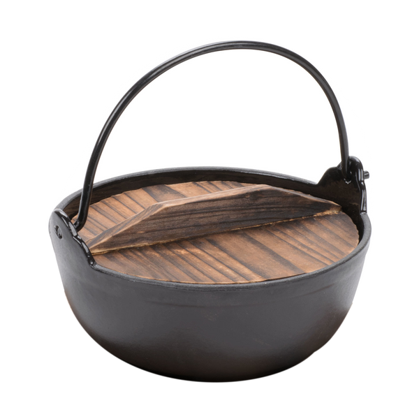 Cast Iron Yamaga Nabe Pot with Wooden Lid & Ladle(Enamel Surface Inside, Not Suitable for Induction Heating or IH)
