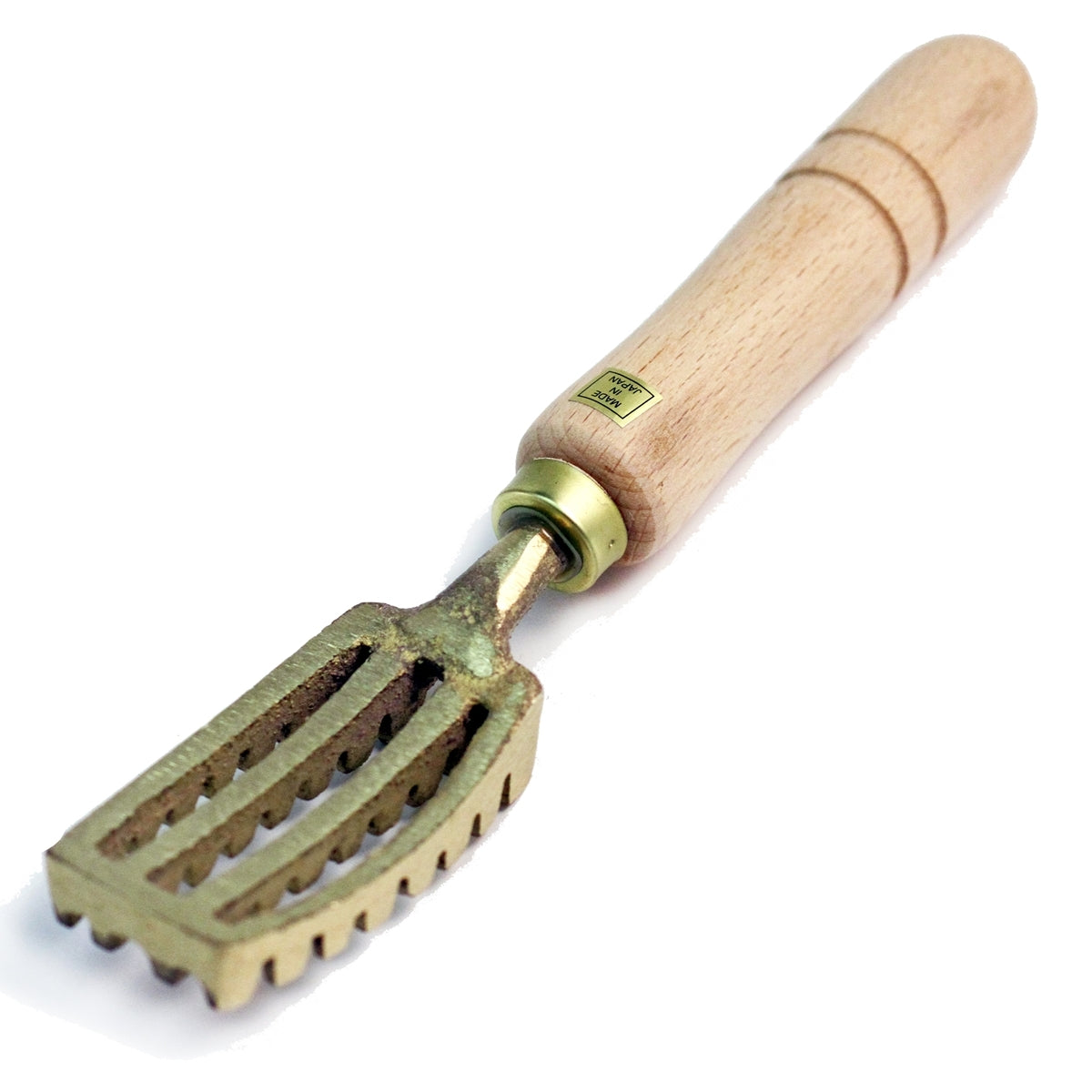 Brass Fish Scaler 210mm w/ Wooden Handle