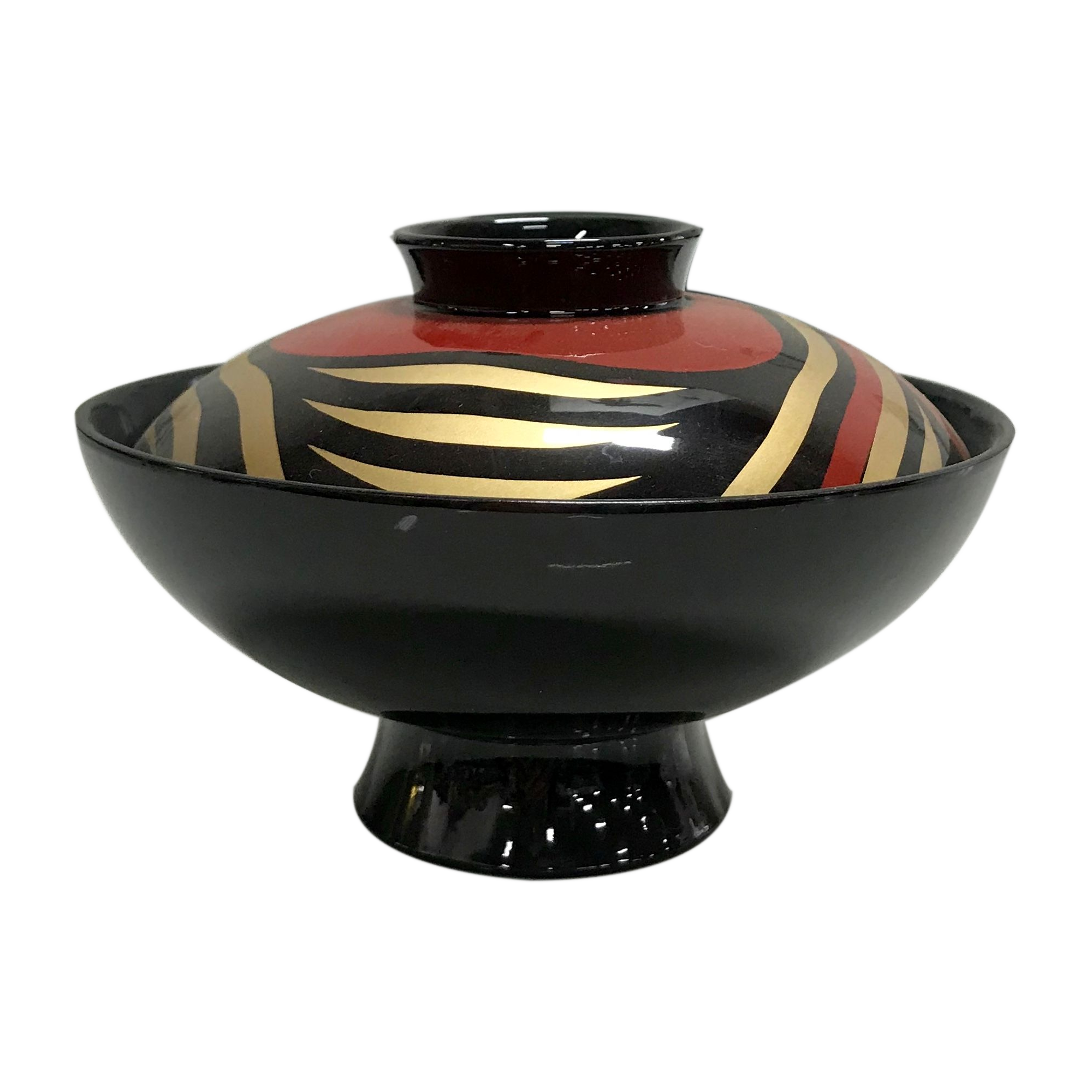 "Lacquered Soup Bowl w/Lid Burgundy ""Kodzuchi-Tameryusui""ABS"