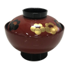 "Lacquered Soup Bowl w/Lid ""Plum on Vermilion"" ABS"