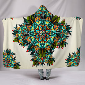 Tattoo Kaleidoscope Mandala Hooded Blanket