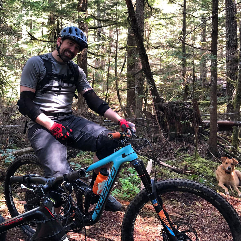 Jeremy uses Loam Goat brake pads on his Norco Range and rides trails all over British Columbia Canada